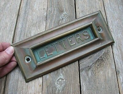 Antique Pressed Brass Letter Box Plate / Door Mail Slot / Mailbox