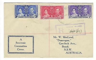 1937 Gilbert & Ellice Islands Cover With King George Coronation Set (FF5)
