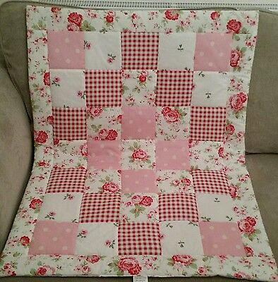 Cath Kidston Cot Quilt Handmade Shabby Chic Baby LapQuilt Patchwork Play Mat Rug