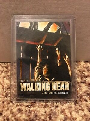 THE WALKING DEAD SEASON 2 SKETCH Card WALKER BARN by KYLE BABBITT 1/1! Color!