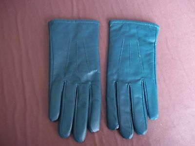 Ladies Green Leather Gloves Size L