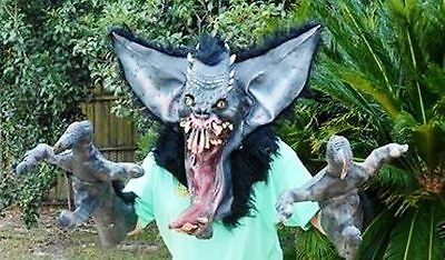 Scary Gremlin Mask With Hands Huge Latex/Rubber with Hair Good Condition!