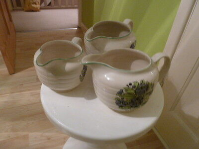 Swinnertons Staffordshire x 3 Jugs. Good Clean Condition.Cream With Floral Print