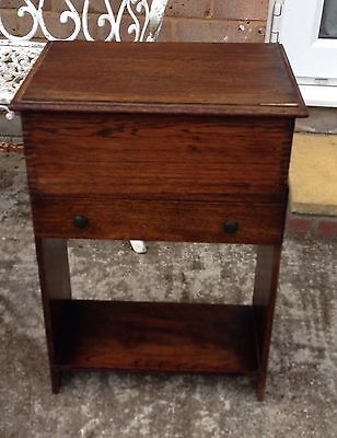 Old antique art deco period wooden & bakelite craft sewing box on legs