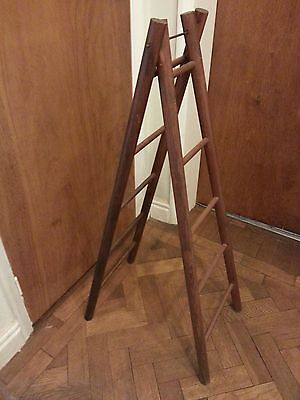 Antique small double wooden ladder - towel/ clothing/ accessory display