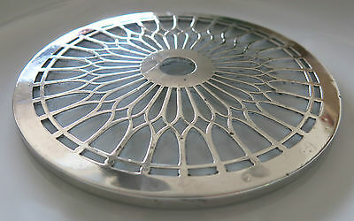 ANTIQUE Sterling SILVER + GLASS TRIVET Geometric Pattern ADIE BROS Birm 1928