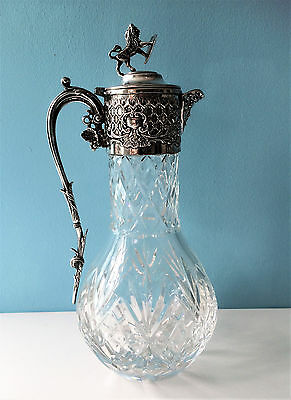Fine Victorian Cut Crystal Claret Jug /decanter, Silver Plate, Bacchus Mask.