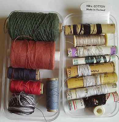 Collection assorted vintage cotton threads - variegated DMC, button thread