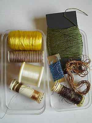 Collection of lurex, variegated, shiny, gold & clear invisible threads Gutermann