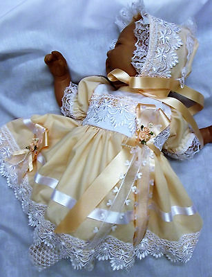 Dream Spanish Peach French Guipur Dress Bonnet Nb 0-3 3-6 Mths Baby Reborn Dolls