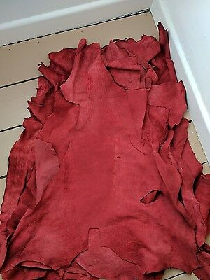 6xRed leather/suede hides/pelts, approx 80cmx60cm
