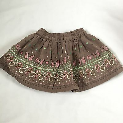 Brown floral butterfly sequin detail skirt  baby girls 3-6 Months clothes