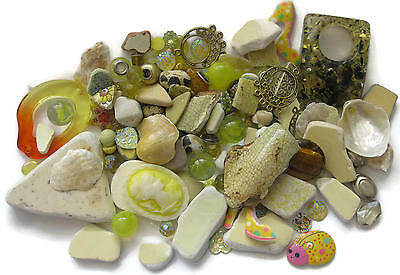 Mosaic Pieces Tiles Beach Pottery Beads Embellishments Marbles 200+ Pcs Yellow
