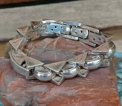 ~Sterling Modernist Biker Triangle & 1/2 Circle Link Heavy Bracelet~