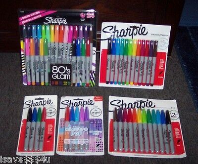 5 New Pkgs Asst Sharpie Permanent Markers - 57 Markers In Assorted Colors & Tips
