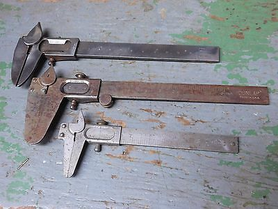 Three (3) vintage vernier calipers Dunlap, Essor and C&J