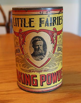 Vintage Little Fairies Baking Powder Tin / Lincoln Chemical Works Chicago Ill