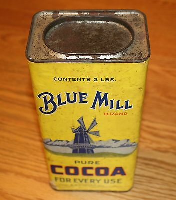 Vintage Blue Mill Cocoa Advertising  Cardboard Container Opler Chicago