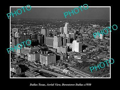 OLD LARGE HISTORIC PHOTO OF DALLAS TEXAS, AERIAL VIEW OF THE CITY c1950 1
