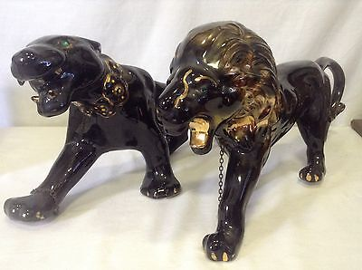 Vintage Set Black with Gold Trim Panther and Lion Figures