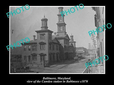 OLD LARGE HISTORIC PHOTO OF BALTIMORE MARYLAND, CAMDEN RAILWAY STATION c1870