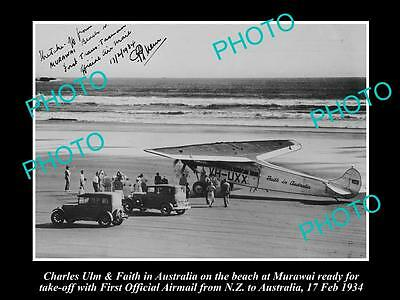 Old Large Historic Photo, Charles Ulm With Faith In Australia 1934 Nz Airmail