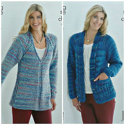 KNITTING PATTERN Ladies Long Sleeve V-Neck Tunic & Jacket Super Chunky 3851
