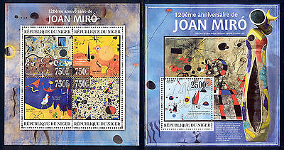 Niger - 2013 two MNH sheets of 4 11831208 Paintings by Miro Lot 39