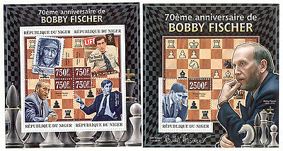 Niger - 2013 two MNH sheets of 4 11841209 Bobby Fischer Lot 40