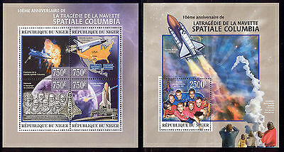Niger - 2013 two MNH sheets of 4 11891214 Shuttle Columbia disaster Lot 45