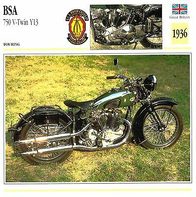 Moto Passion Motorcycle Card D2 000 08-12 Great Britain  BSA 750 V-Twin Y13 1936