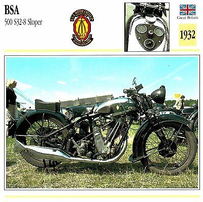 Moto Passion Motorcycle Card D2 000 15-03 Great Britain BSA 500 S32-8 Sloper 193