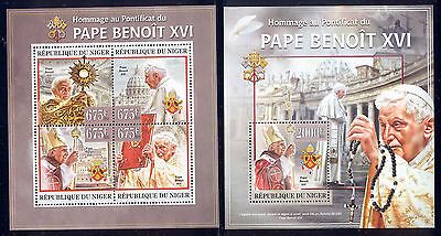 Niger - 2013 two MNH sheets of 4 11771202 Pope Benedict XVI  Lot 33