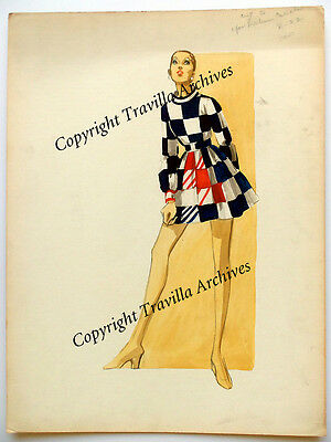 1960s Diahann Carroll Wardrobe Sketch William Travilla