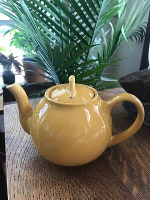 VINTAGE Butterscotch (Warm) Yellow Liptons Tea FrenchTeapot by Hall, 4-8 cup