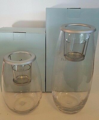 PartyLite Clearly Creative Votive Holder Short & Tall NIB in Original Box Set 2