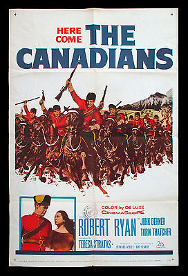 THE CANADIANS original 1961 US one-sheet movie poster RCMP MOUNTIES CANADA 150