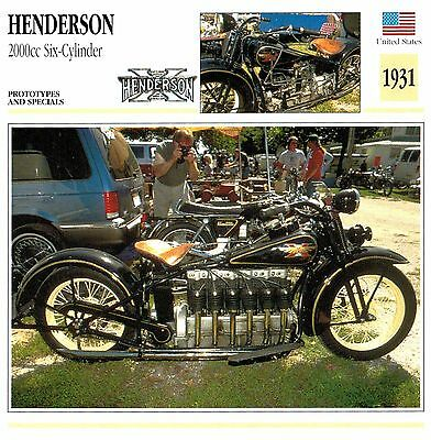 Moto Passion Motorcycle Card D2 000 43-03 USA Henderson 2000cc Six-Cylinder - 19