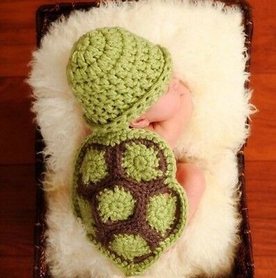 NEWborn Baby Infant Girl Boy Unisex Crochet Knit Turtle Costume Photography