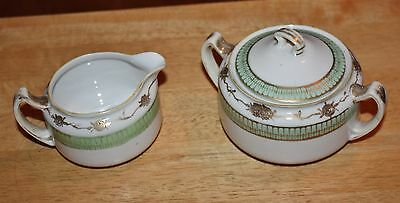 Vintage Nippon Hand Painted Cream & Sugar Green with Gold accents