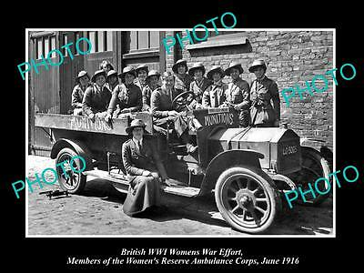 OLD LARGE HISTORIC PHOTO OF BRITISH WWI WOMENS WAR EFFORT, AMBULANCE CORPS c1916