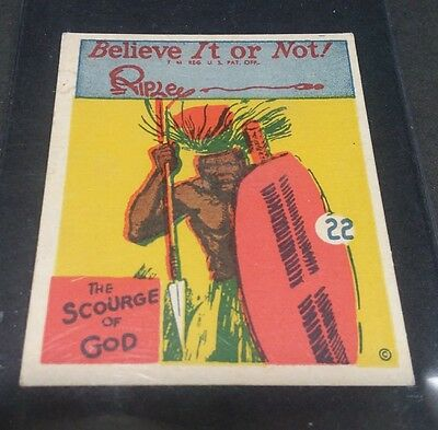 1937 Wolverine Gum Ripley's The Scourge of God Very High Grade Card