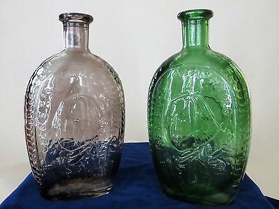 Antique Glass Bottles Green Purple Vintage