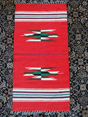 Vintage Chimayo Native American Indian Wool Textile Weaving Runner New Mexico