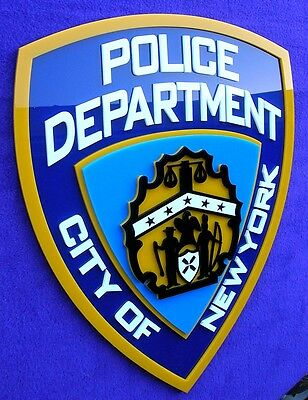 3D NYPD SIGN art  NEW YORK POLICE car NY City car badge TV 3-D movie shield 3-D