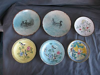 6 Vintage CHINESE CLOISONNE ENAMEL PIN DISHES Ash Trays Floral Designs