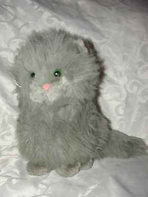 Vintage Dakin Long Haired Gray Grey Cat 1983 Puffy Persian Very Good Condition