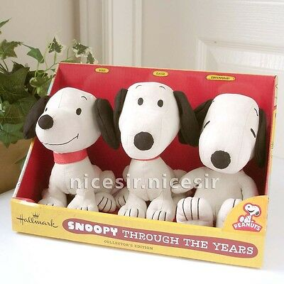 Hallmark Peanuts Snoopy Through the Years Plush Set of 3 Collection Edition