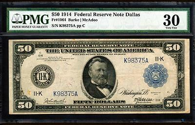 Fr.1064 1914 $50 DALLAS + BURKE-McADOO SIGNED FRN + PMG VERY FINE 30 SUPER RARE