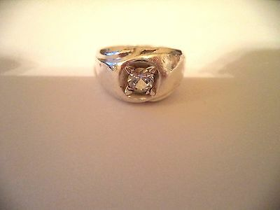 Men's ring sterling silver sz.11 clear stone *pretty vintage rings*